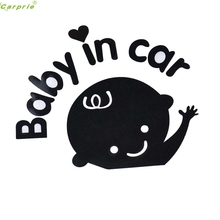 купить Cute Baby In Car Waving Baby on Board Safety Sign Vinyl Decals Motorcycle Trunk  Window Car Sticker Black White Car-styling по цене 57.32 рублей