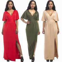 New hot summer fashion temperament sexy large solid color fat MM high waist loose wide leg casual middle-aged women dress autumn new middle east popular solid color loose casual hanging neck loose wide leg large size fat mm sexy ladies dress