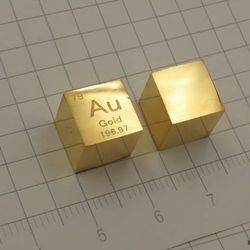 Envío Gratis Cubo de Metal dorado 999 puro 10mm densidad lingote Au tabla de elementos periódicos