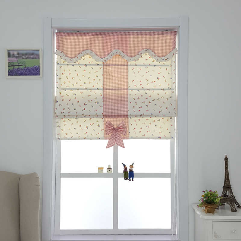 Roman curtains down curtains American small floral lattice pastures Chinese style window curtains