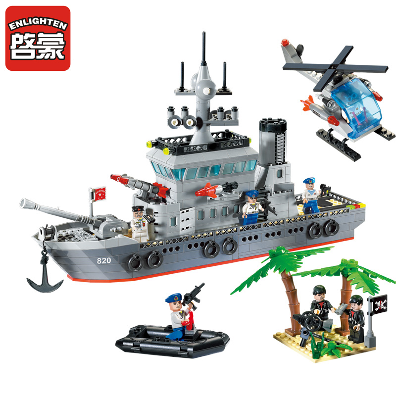 Enlighten New Blocks Navy Frigate Ship Assembling Building Blocks Military Series Blocks Girls&Boys Brick Toys For Children black pearl building blocks kaizi ky87010 pirates of the caribbean ship self locking bricks assembling toys 1184pcs set gift