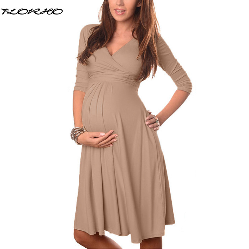 Maternity Clothes 2018 Spring Summer Pregnant Women Dress Casual Sexy V Neck 3/4 Sleeve Solid A-line Dresses Vestidos Plus Size solid color skinny backless sexy scoop neck summer dress for women