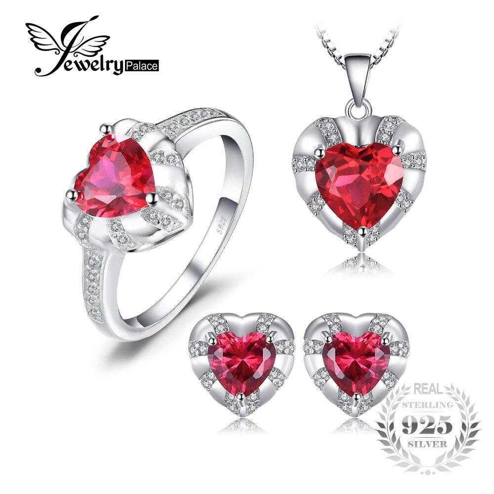 Jewelrypalace amor corazón 8.7ct creado Ruby anillo declaración colgante collar Pendientes de broche Juegos de joyería 925 plata esterlina 45mm