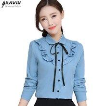 Primavera elegante babados rendas camisa feminina nova moda formal arco manga longa fino chiffon blusa escritório senhoras plus size topos