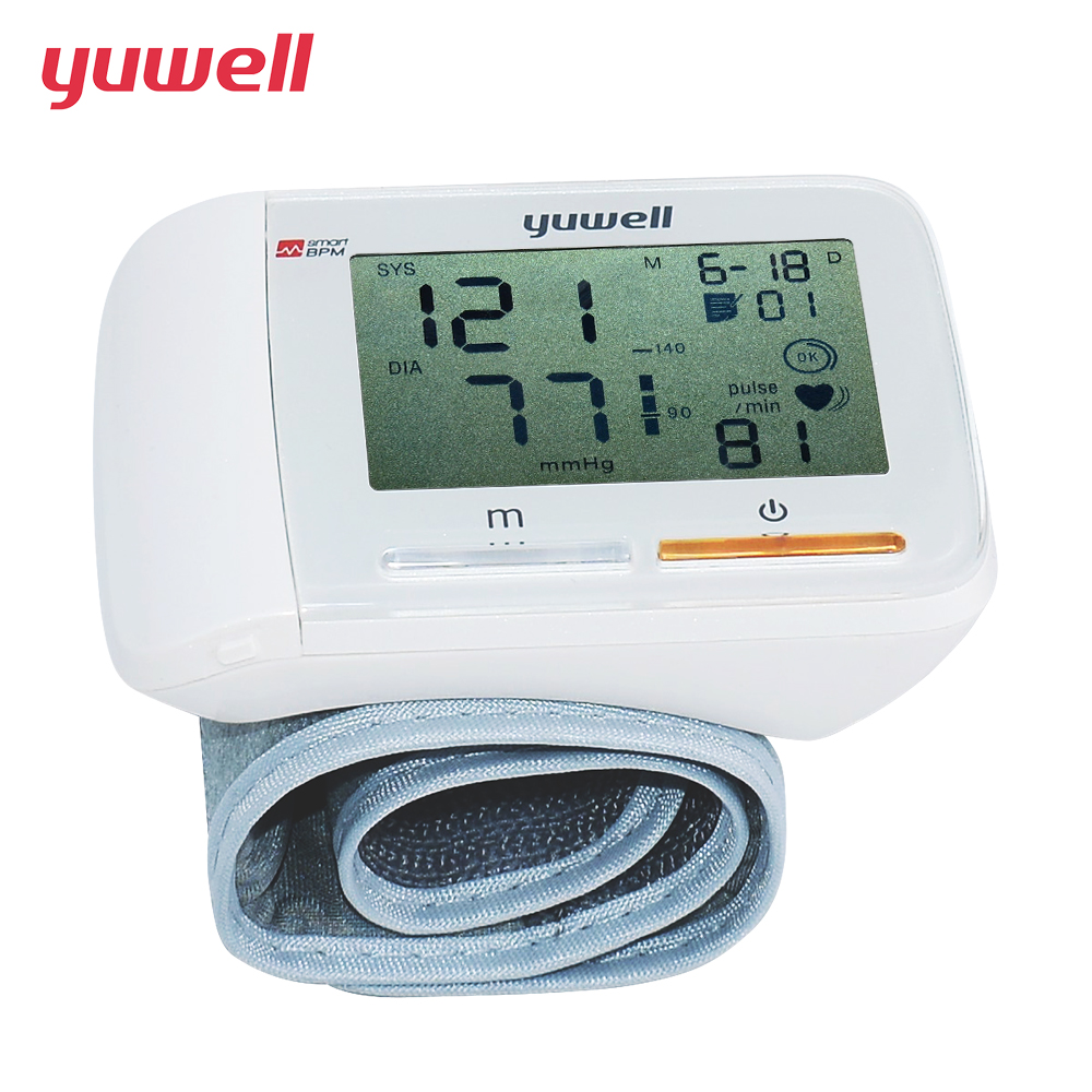 yuwell Wrist Blood Pressure Monitor Repair Large Digital LCD Portable Ecg Automatic Sphygmomanometer Medical Equipment new version 1 875 lcd portable automatic wrist watch blood pressure monitor white 2 x aaa