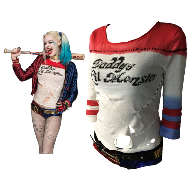 d6037c4601a0 Batman Arkham Asylum City 2016 Suicide Squad Harley Quinn Costume T Shirt  Daddy's Lil Monster T Shirt Joker Cosplay Costumes-in Movie & TV costumes  from ...