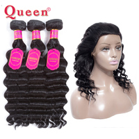 Queen Hair Loose Deep Wave Bundles With 360 Lace Frontal Closure Non Remy Brazilian 3 Bundles Wave Hair With 360 Closure