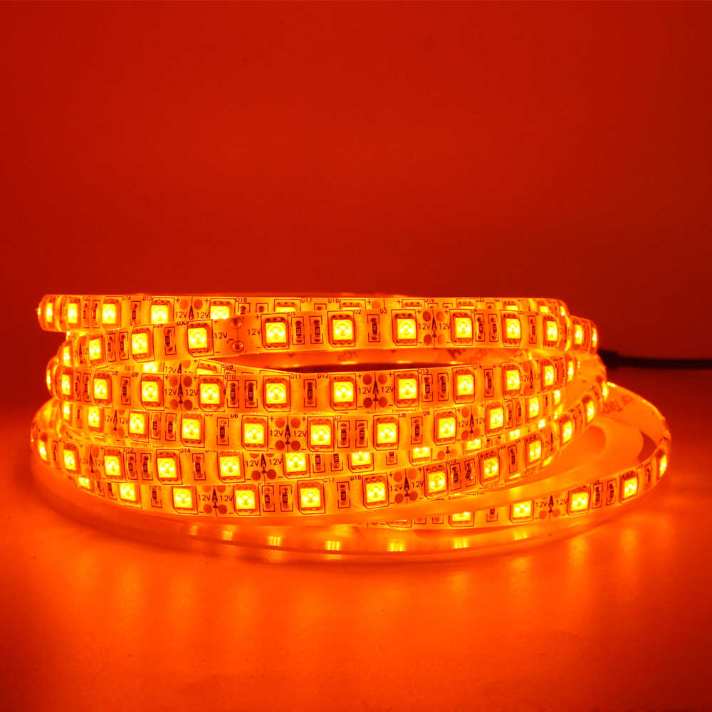 LED Strip Ringan 600nm Jeruk Asli SMD 5050 3528 Strip Pita Dioda Tape Tali Lights 12 V 1 M 2 M 5 M Strip Fleksibel Tali Lampu