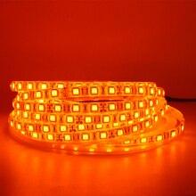 شريط LED ضوء 600nm صحيح البرتقال مصلحة الارصاد الجوية 5050 3528 الشريط الشريط ديود الشريط حبل أضواء 12 فولت 1 متر 2 متر 5 متر شريط مرن سلسلة مصباح