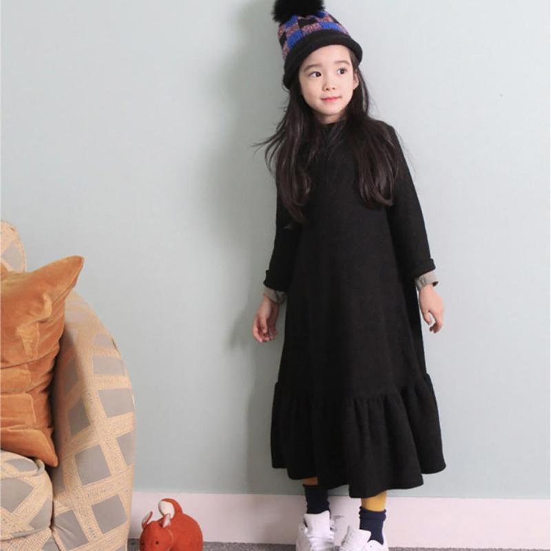 Princess Girls Dress 2017 New Fashion spring winter Children Long Sleeve Cartoon baby girl Cotton Party Dresses for kids F2-18H  fashion 2017 spring autumn new girls cotton knitting dress hat 2 piece thickening baby girl princess dress winter kids clothes
