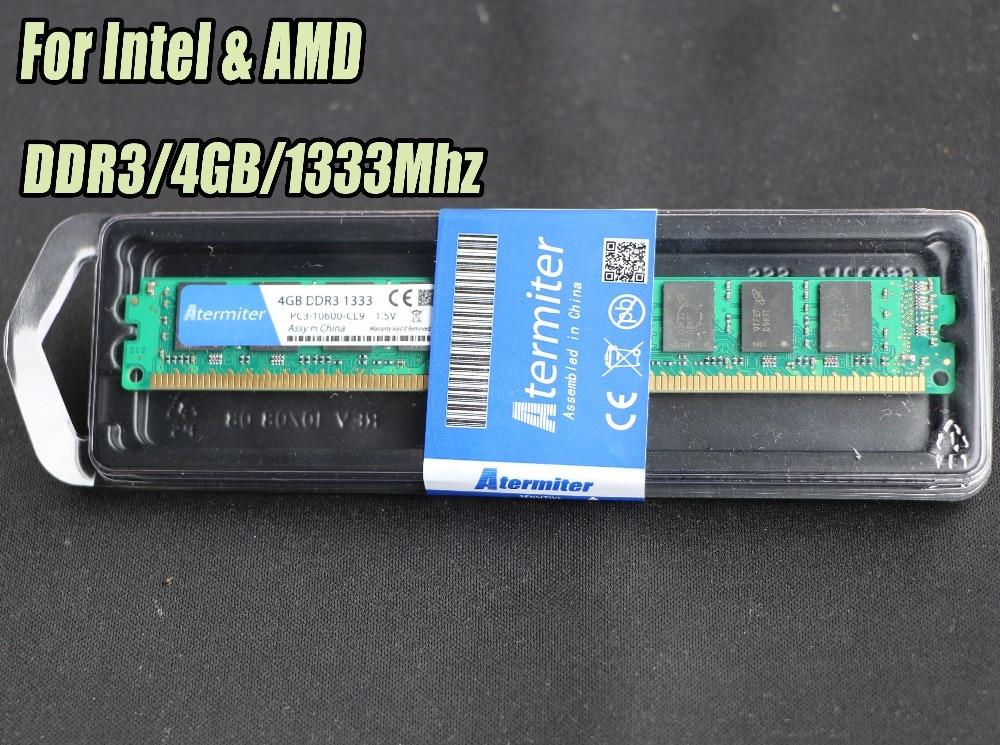 Nuevo 4 GB DDR3 PC3-10600 1333 MHz para PC de escritorio DIMM memoria RAM 240 pines (intel amd) Sistema totalmente compatible alta Compatible