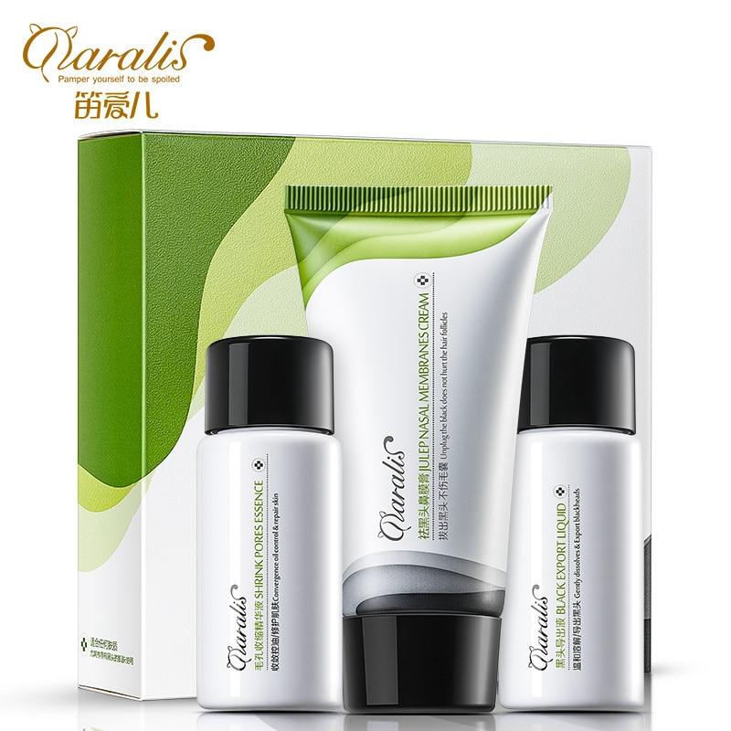 3pcs/lot Blackhead Remove Suit Nose Black Mask Cream Acne Remover Black Mud Masks Facial Pore Cleanser Shrinking Pores Essence