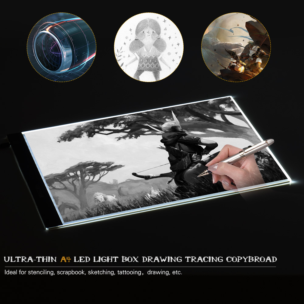A4 Ultra-thin Portable LED Light Box Drawing Tracer Table Painting Tracing Pad Copy Board Panel for Artist Animation X-Ray draw m way 35x23x0 52cm ultra thin pencil drawing table graphics tablet a4 led copy adjustable brightness tracing copyboard