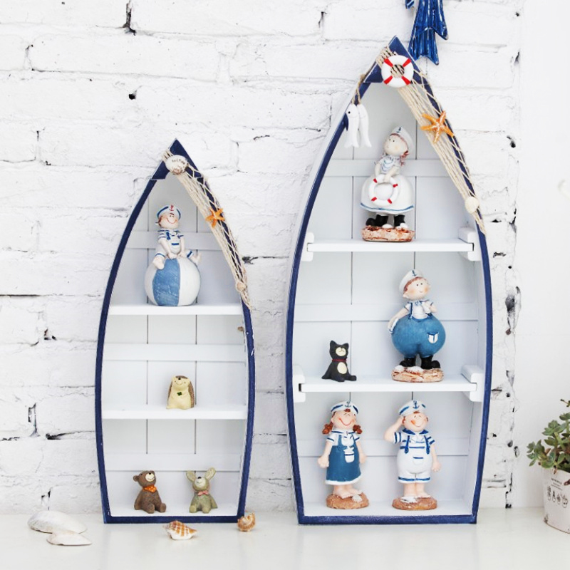 Mediterranean Style Ship Shaped Cabinet Living Room Decorations Marien Crafts Modern Wood Cabinet Home Decoratation Accessories Statues & Sculptures Home & Garden - title=