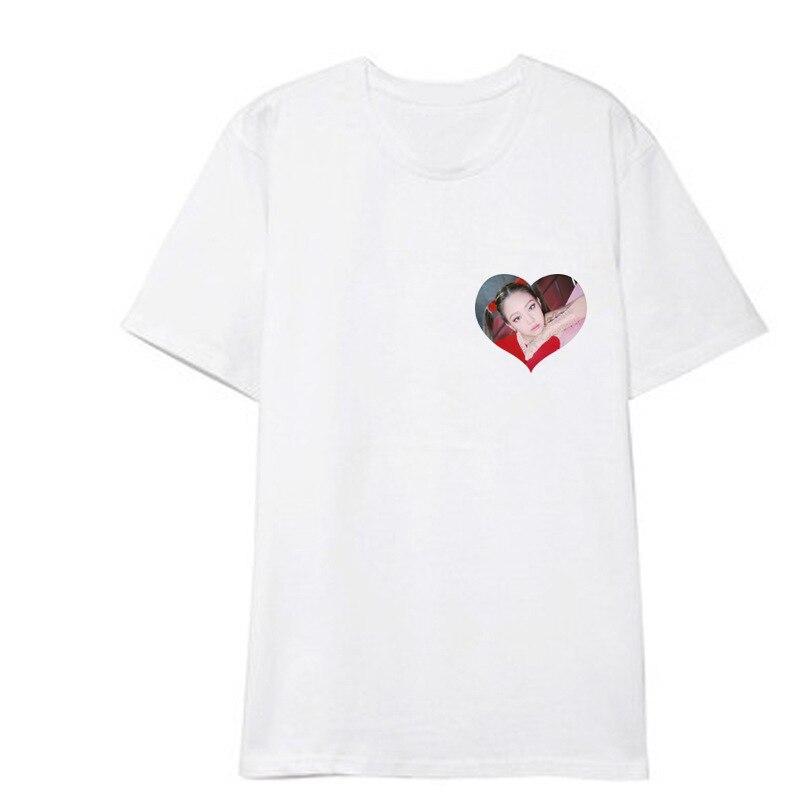ONGSEONG Kpop BLACKPINK Heart Album Shirts Hip Hop Casual Loose Clothes Tshirt T Shirt Short Sleeve Tops T-shirt DX558