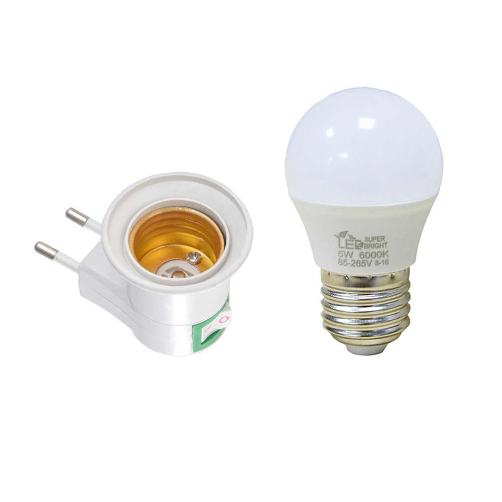 Socket base E27 LED Lamp Light Socket Base Type to 110V 220V EU Plug Bulb Holder Converter + ON/OFF Button Switch