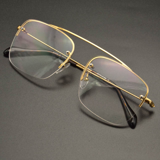 0e962cc0f3 Raees Shahrukh Khan Eyeglasses Vintage Fashion Gold Square Semi Rim  Computer Clear Lenses For Men-in Eyewear Frames from Apparel Accessories on  ...