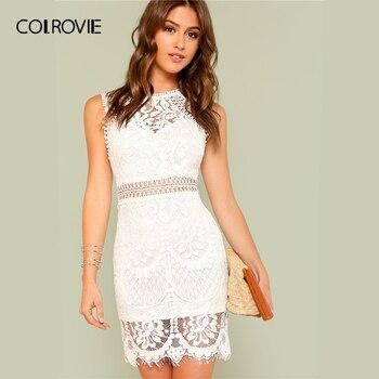764a528373ee381 COLROVIE белый с фестонами подол Гипюр кружево обтягивающее элегантное  платье для женщин 2019 лето без рукавов