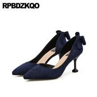 Office Stiletto Elegant 2018 Cheap Women High Heels Black Shoes D'orsay Navy Blue Pumps Suede Sexy Pointed Toe Size 4 34 3 Inch