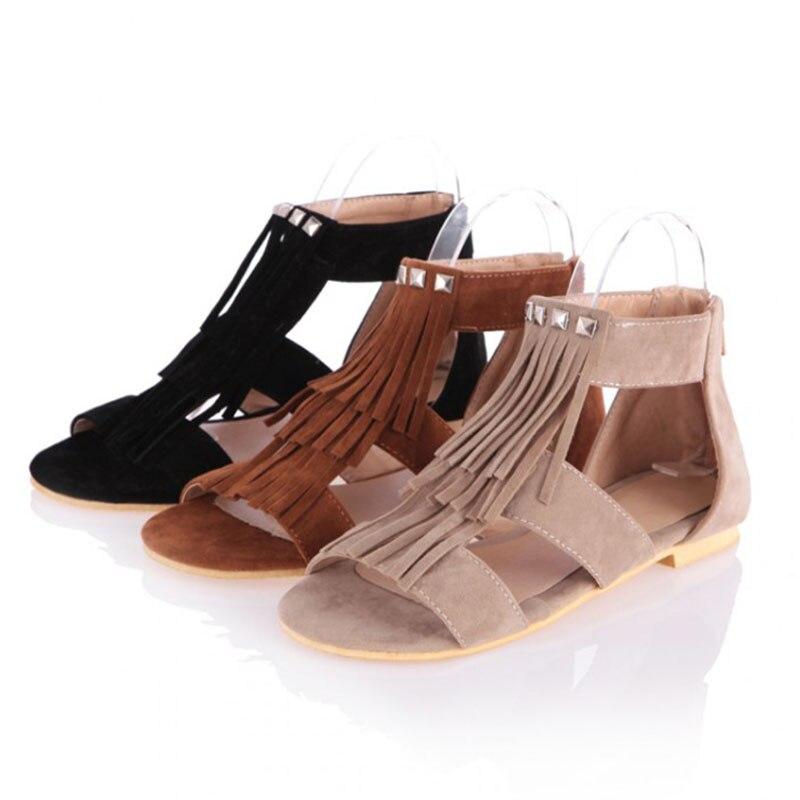 Más 2017 Pequeño Zapatos Sandalias De Punta naranja Beige Casuales Borla negro Tacón Estudiante Abierta Las Tamaño Plano Mujeres Moda OwOrWZqxvH