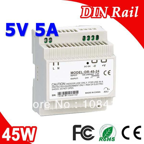 DR-45-5 LED Din Rail mounted Power Supply Transformer 110V 220V AC to DC 5V 5A 25W Output dr 45 24 led din rail mounted power supply transformer 110v 220v ac to dc 24v 2a 45w output