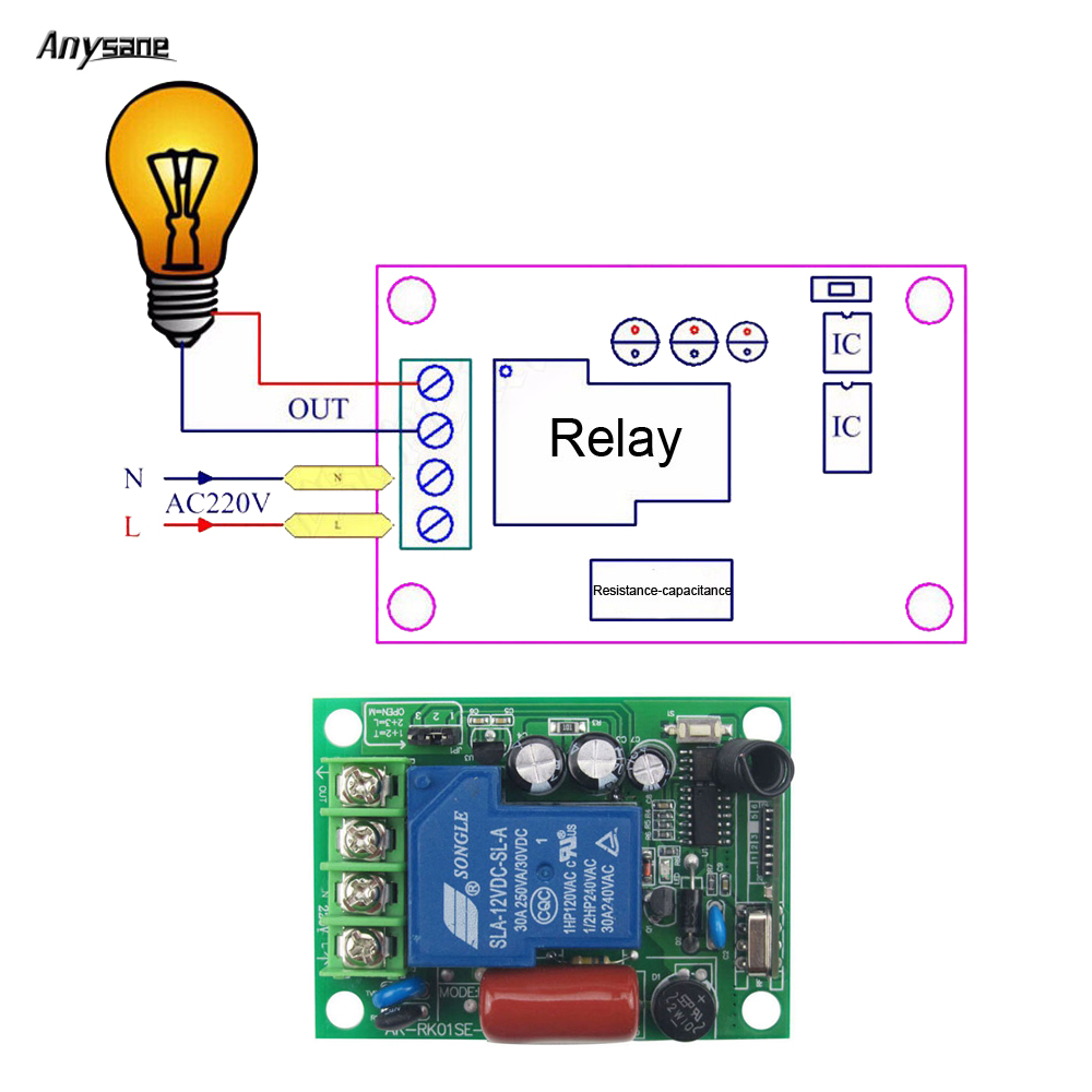 433mhz Rf Remote Control Controller Light Switch Pump Wireless Circuit Diagram Based Relay Receiver Ac85 230v 30a Lamp Home Automation