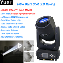 Beam spot 2in1 200w led Moving Head Light 7 colors 3 facets prism 6/18 DMX Channels 2 Gobo wheels DJ Disco Party concert light