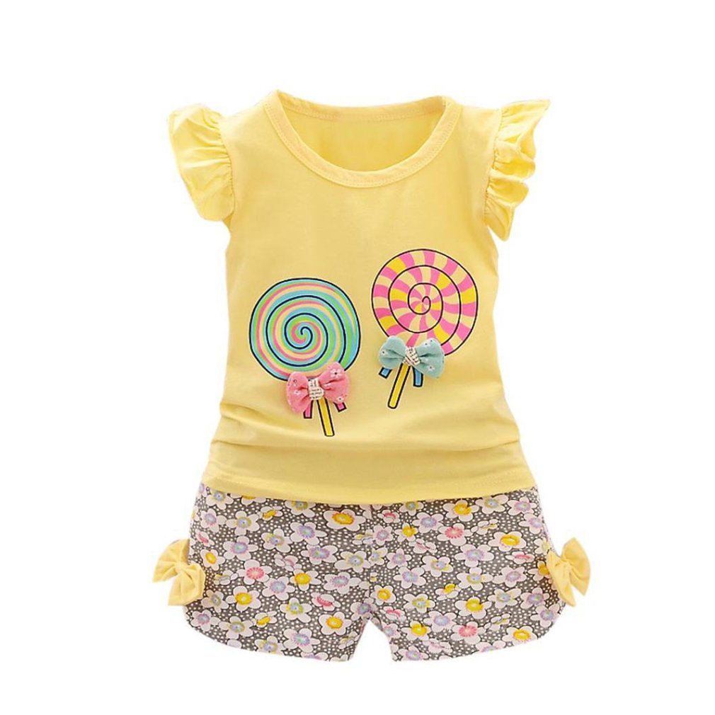 OUTAD Little Girls Clothes Summer Sleeveless Tops Lovely Lollipop Bowknot Shirt + Shorts Kids Comfortable Costume Girls Outfits