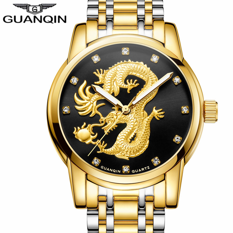 Mens Watches Top Brand GUANQIN Luxury Gold Dragon Sculpture Quartz Watch Men Full Steel Waterproof Wristwatch relogio masculino