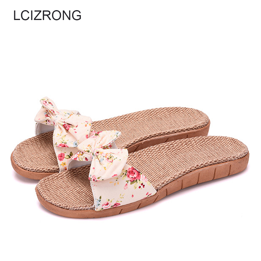 LCIZRONG Summer 5 Colors Floral Women Slippers Flax Straw Bohemia Beach Ladies Home Slippers Family Non-slip Flat Shoes Female coolsa new summer linen women slippers fabric eva flat non slip slides linen sandals home slipper lovers casual straw beach shoe