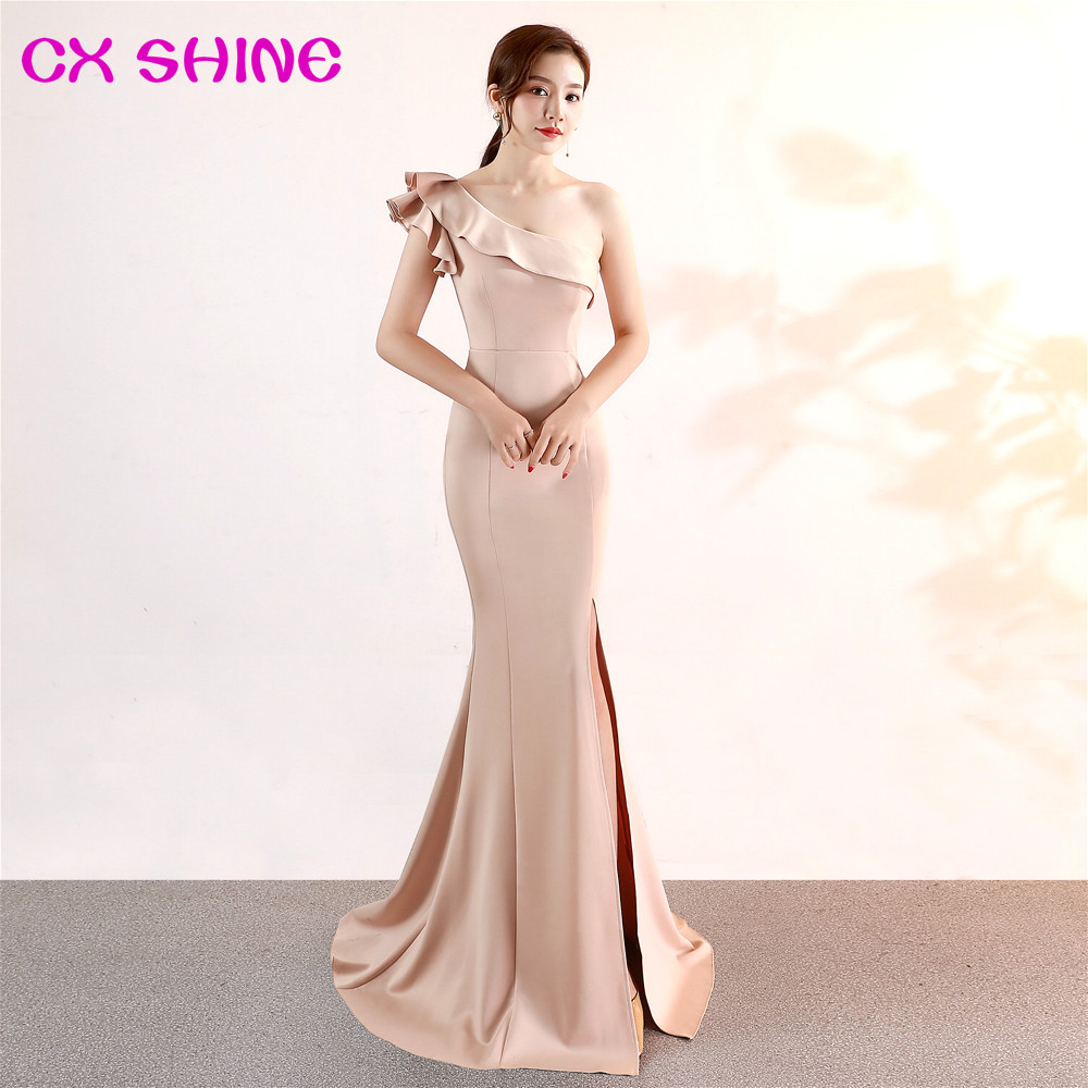 One Shoulder Long Evening Dresses CX SHINE Champagne Mermaid Trumpet Long Prom Party Dress Elasticity Robe De Soiree Vestidos