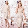 2016 madre de la novia vestidos v-cuello longitud de la rodilla apliques de encaje con mantón de la boda del partido de noche formales