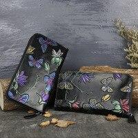 Women Retro New Hand Painted Clutch Bags Female Wallet Women Genuine Leather Wallet Long Purse Butterfly