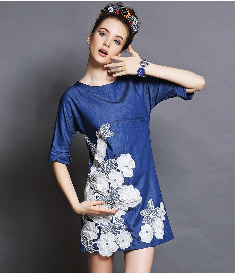 Vestido denim mujer moda vintage o cuello flojo camisa del bordado jpg  750x873 Flojo vestidos jeans e152d0fa4b16