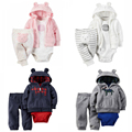 Baby Boy 3pcs Bodysuit Hooded Long-Sleeve Outwear Pants Girl Clothing set soft Cotton Bebes Clothing set