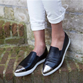 New Classic Celebrity Casual Shoes Black Metal Cap-Toe Pointed Toe Slip On Loafers Shoes Women Platform Flats Street Style Shoes