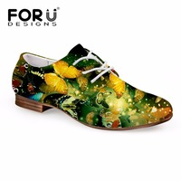 FORUDESIGNS 2017 New Fashion Oxfords Shoes For Woman 3D Butterfly Printed Women Casual Lacing Leather Shoes