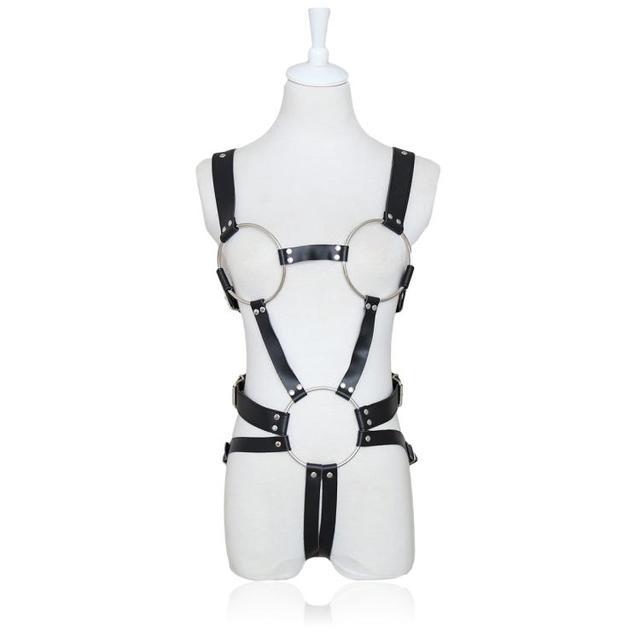 2017 new women lingerie Leather garter belt  sexy club cage goth bust bondage suit flirt  clothes show props  stage retail