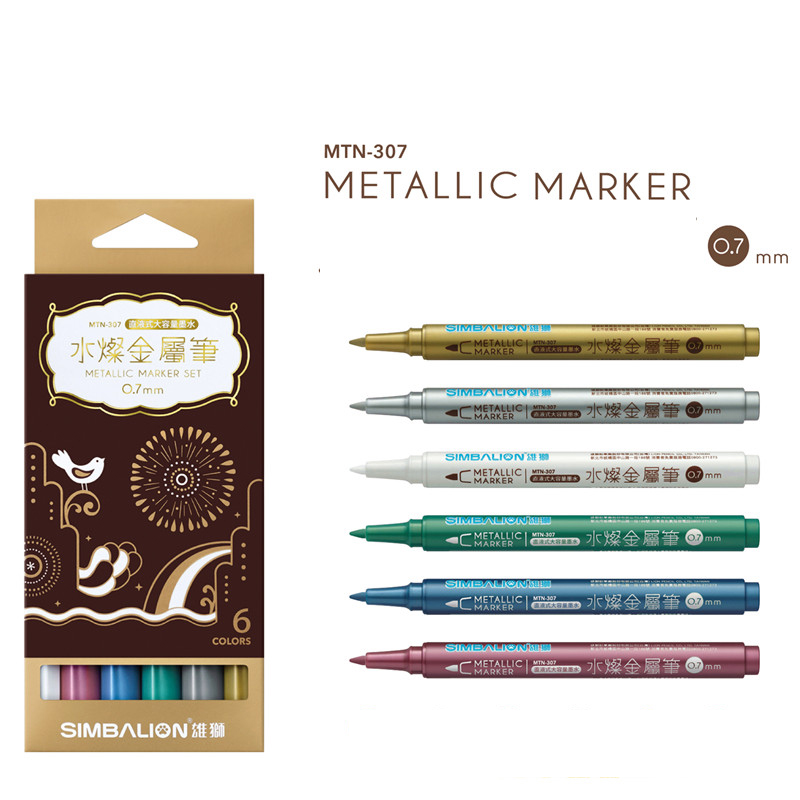 6 Colors/Set Simbalion Water-Based Metallic Paint Markers Pen, Permanent Fine Point, Assorted Colors 0.7mm lomond fine art metallic