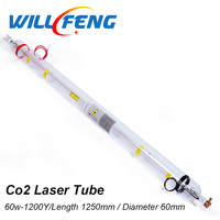 Will Feng 60W Co2 Laser Tube Length 1250mm Diameter 60mm For 6040 9060 Co2 Laser Cutter Machine ,CNC Laser Lamp Parts