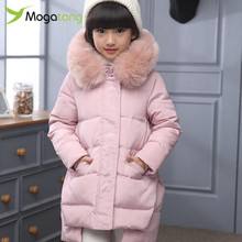 Mogatang New Girls Winter Down Coats Children Long Thick Warm Down Coat Teenage Winter Jacket For Cold winter -30degree #3942
