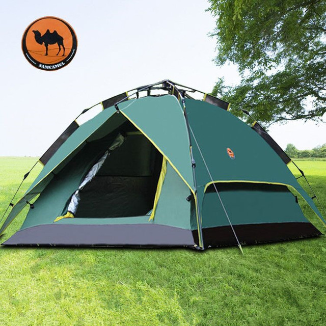 Ancheer Camping Tent Army Green Double Layers 3-4 Person Quick Pop ...