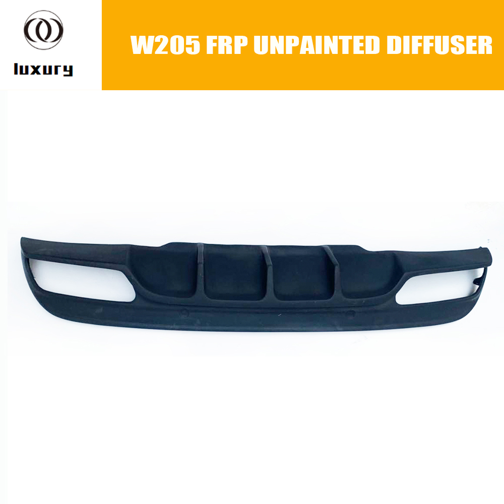 C200 ABS Unpainted <font><b>Rear</b></font> Bumper Lip <font><b>Diffuser</b></font> for Benz W205 4 Door Sedan C180 C200 <font><b>C300</b></font> C43 with AMG Package 2015 - 2022 image