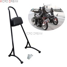 Motorcycle Long Sissy Bar Passenger Pad Backrest for Harley Sportster 1200 Iron 883 Roadster Forty-Eight Custom Seventy-Two Low цена и фото