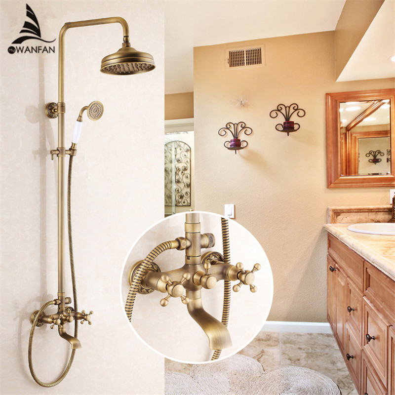Shower Faucets Antique Brass Shower Set Faucet Tub Mixer Tap Handheld Shower Wall Mounted Rainfall Bath Crane Shower WF-6821 8 inch rainfall bathroom shower faucet set antique brass finish wall mounted single handle mixer tap handheld shower wrs059