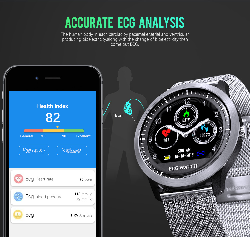 LEMFO N58 ECG PPG Smart watch men women with electrocardiograph ecg display holter ecg heart rate monitor blood pressure smartwatch Fitness bracelet (3)