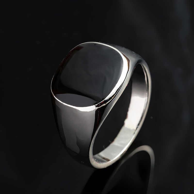 ขนาด 7-12 Vintage Men เครื่องประดับแหวนสแตนเลสแฟชั่น Minimalist ออกแบบชุบทองเคลือบสีดำ Mens แหวน