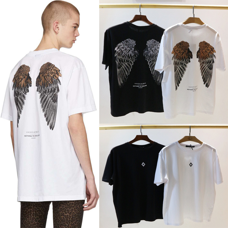 19SS Marcelo Burlon   T     Shirt   Back Wings real tags Hip Hop MB   T  -  shirt   men Streetwear justin bieber Marcelo Burlon Top Tees