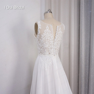 Image 2 - Chiffon A line Wedding Dress V Neckline with Lace Appliques Beaded Illusion Back with Button