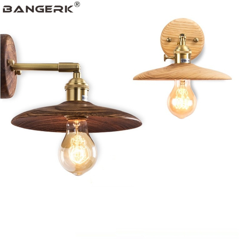 Nordic Design Switch Rotating Sconce Wall Lights Loft Edison Industrial Rrtro Bedside Wall Lamp Wood Brass Home Deco Lighting